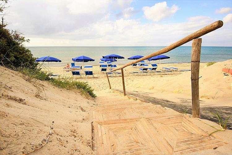 Ingresso alla spiaggia privata del Plata Beach Hotel