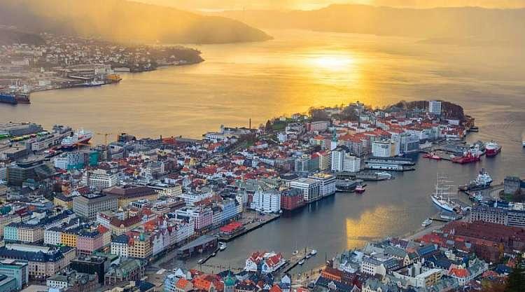 Bergen dall'alto, Norvegia, Norway in a Nutshell